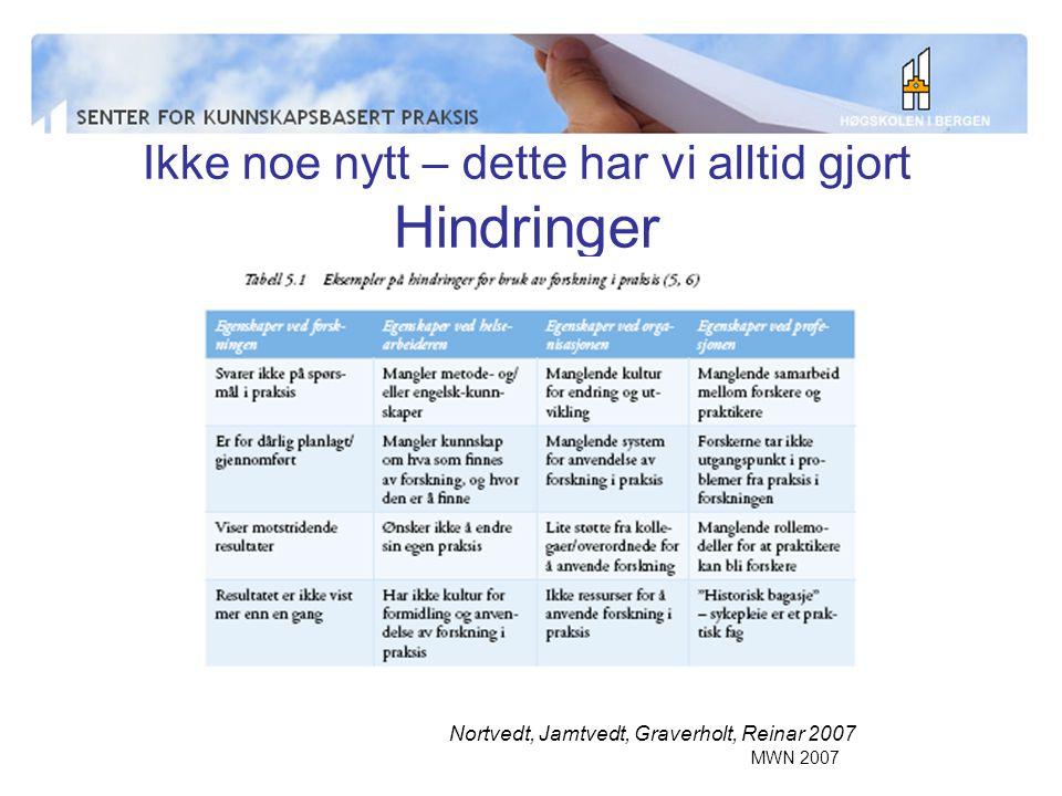 MWN 2007 Ikke noe nytt – dette har vi alltid gjort Hindringer Nortvedt, Jamtvedt, Graverholt, Reinar 2007