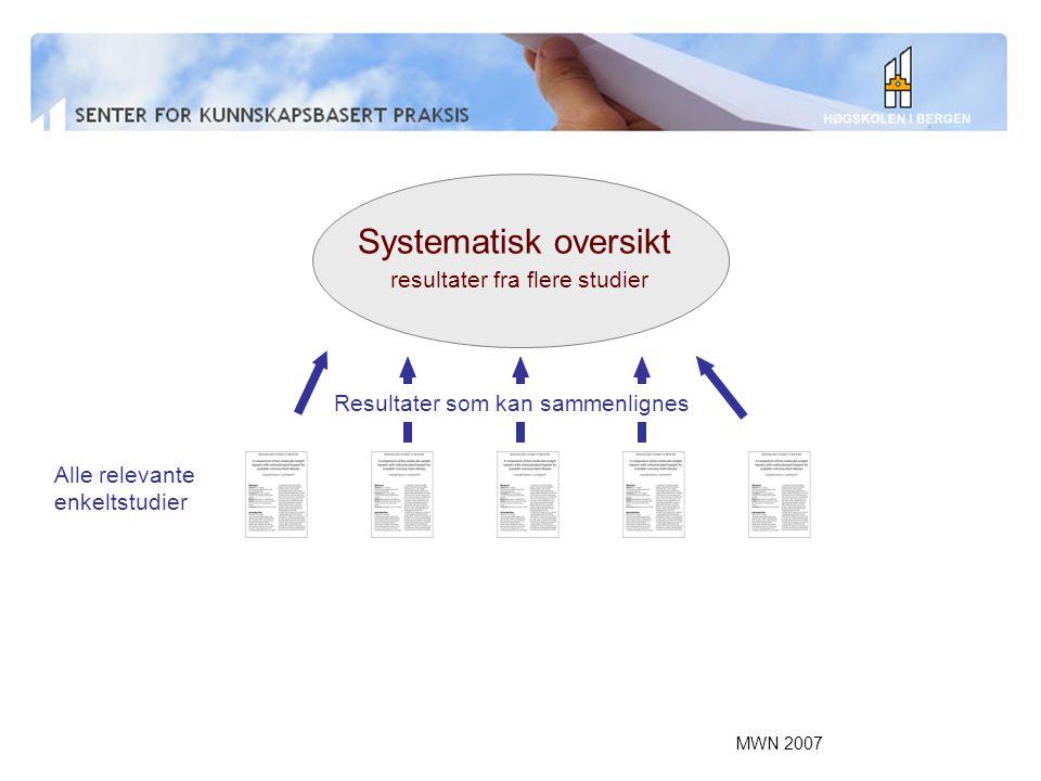 MWN 2007 Systematisk oversikt resultater fra flere studier Alle relevante enkeltstudier Resultater som kan sammenlignes
