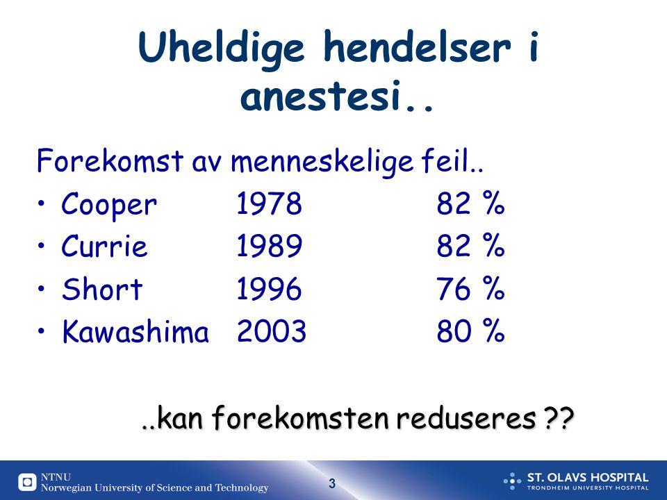 3 Uheldige hendelser i anestesi..Forekomst av menneskelige feil..
