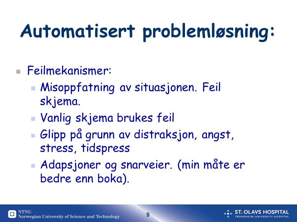 9 Automatisert problemløsning: Feilmekanismer: Misoppfatning av situasjonen.