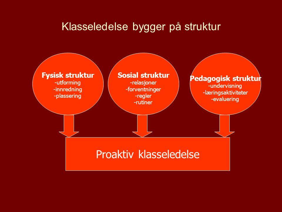 Klasseledelse bygger på struktur Fysisk struktur -utforming -innredning -plassering Sosial struktur -relasjoner -forventninger -regler -rutiner Pedago