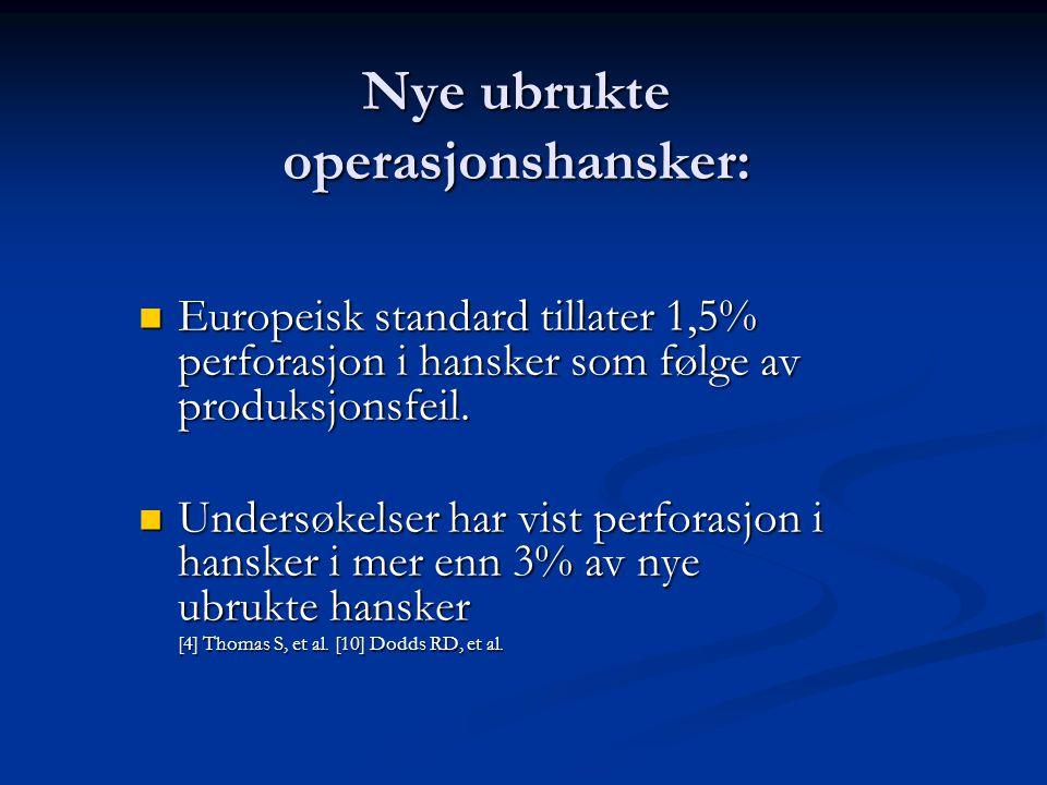 Nye ubrukte operasjonshansker: Europeisk standard tillater 1,5% perforasjon i hansker som følge av produksjonsfeil.