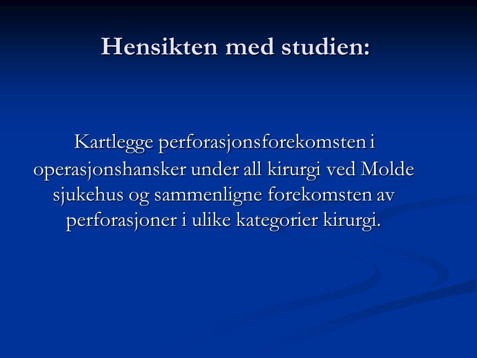 Hensikten med studien: Kartlegge perforasjonsforekomsten i operasjonshansker under all kirurgi ved Molde sjukehus og sammenligne forekomsten av perforasjoner i ulike kategorier kirurgi.