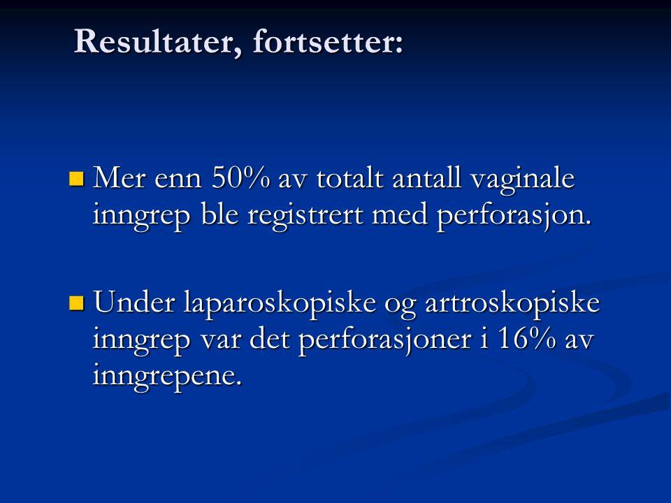 Resultater, fortsetter: Mer enn 50% av totalt antall vaginale inngrep ble registrert med perforasjon.