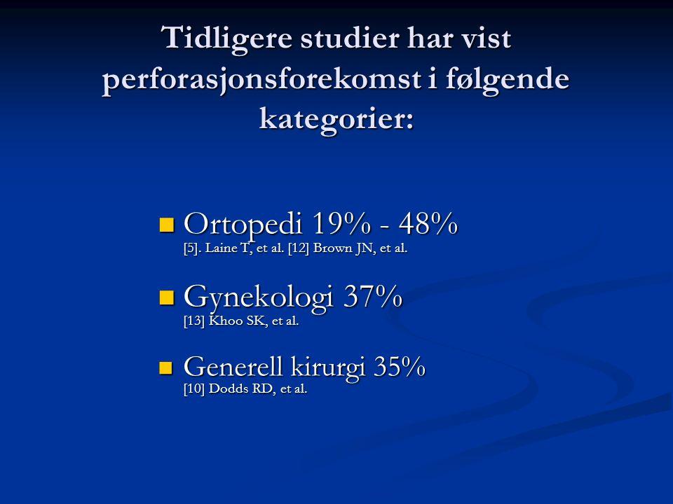 Tidligere studier har vist perforasjonsforekomst i følgende kategorier: Ortopedi 19% - 48% [5].