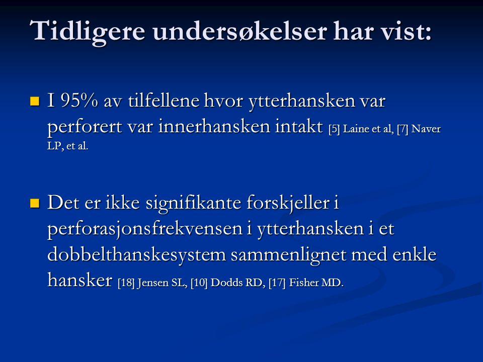 Tidligere undersøkelser har vist: I 95% av tilfellene hvor ytterhansken var perforert var innerhansken intakt [5] Laine et al, [7] Naver LP, et al.