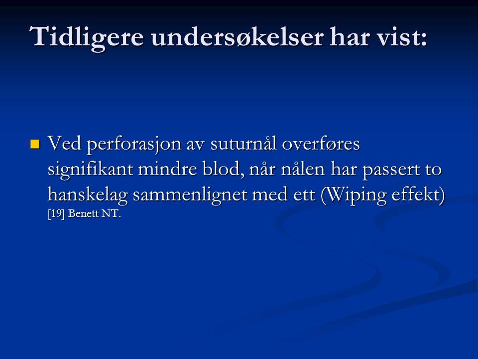 Tidligere undersøkelser har vist: Ved perforasjon av suturnål overføres signifikant mindre blod, når nålen har passert to hanskelag sammenlignet med ett (Wiping effekt) [19] Benett NT.