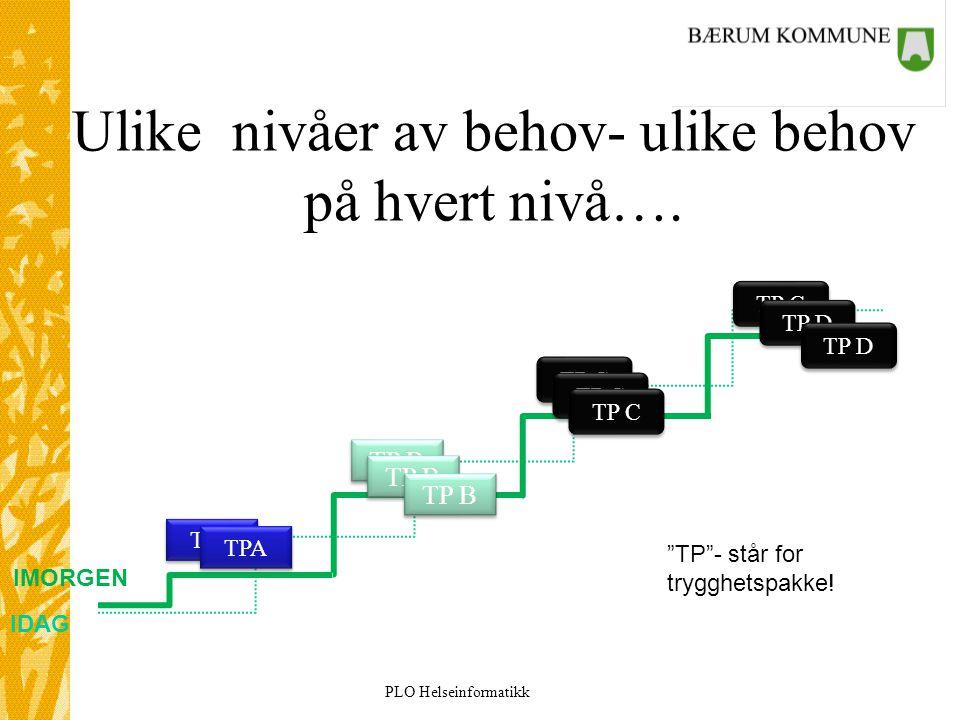 """PLO Helseinformatikk Ulike nivåer av behov- ulike behov på hvert nivå…. IDAG IMORGEN TPA TP B TP C TP D """"TP""""- står for trygghetspakke!"""