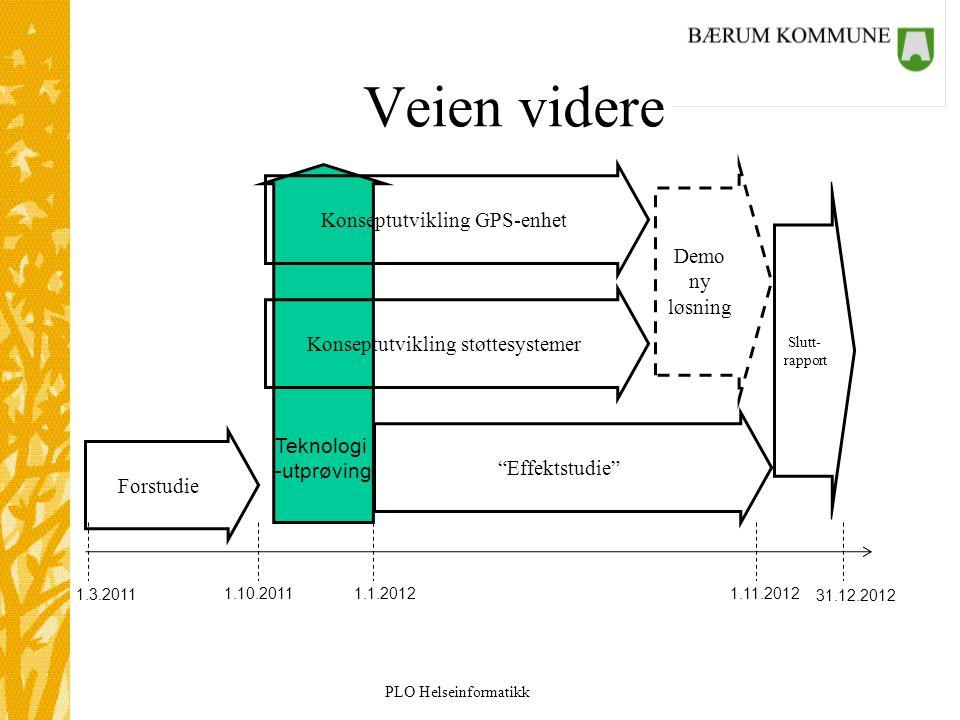 """PLO Helseinformatikk Veien videre 35 """"Effektstudie"""" Konseptutvikling GPS-enhet Konseptutvikling støttesystemer Teknologi -utprøving Demo ny løsning 1."""
