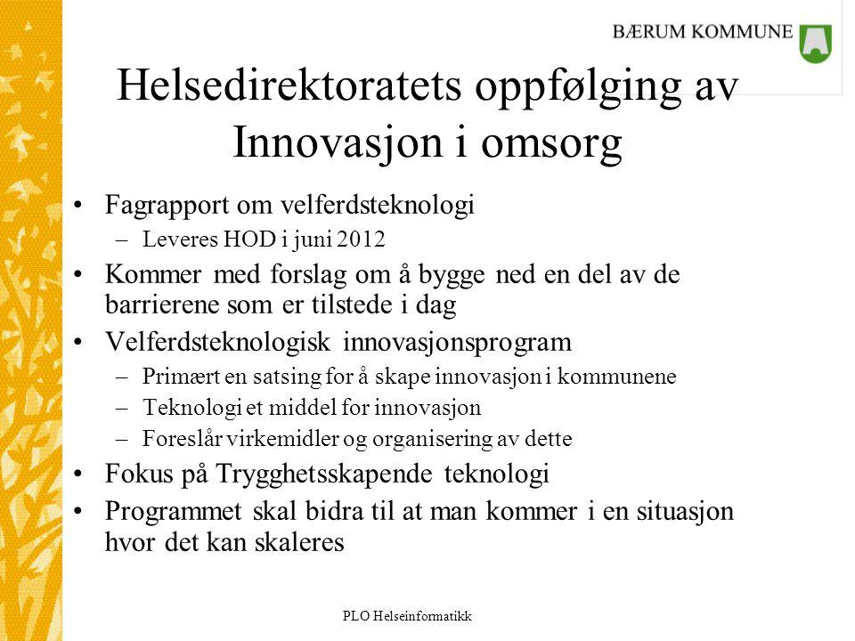 PLO Helseinformatikk Helsedirektoratets oppfølging av Innovasjon i omsorg Fagrapport om velferdsteknologi –Leveres HOD i juni 2012 Kommer med forslag