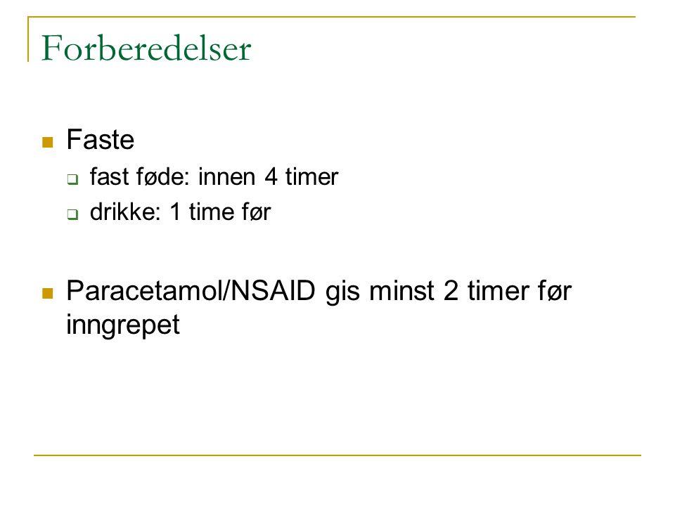 Faste  fast føde: innen 4 timer  drikke: 1 time før Paracetamol/NSAID gis minst 2 timer før inngrepet