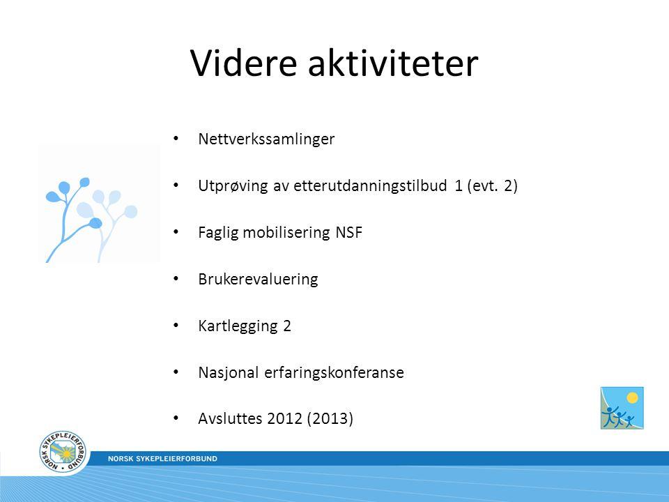 Videre aktiviteter Nettverkssamlinger Utprøving av etterutdanningstilbud 1 (evt.