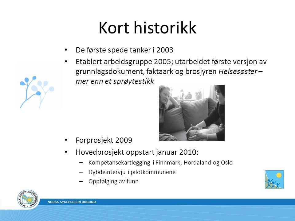 Kort historikk De første spede tanker i 2003 Etablert arbeidsgruppe 2005; utarbeidet første versjon av grunnlagsdokument, faktaark og brosjyren Helsesøster – mer enn et sprøytestikk Forprosjekt 2009 Hovedprosjekt oppstart januar 2010: – Kompetansekartlegging i Finnmark, Hordaland og Oslo – Dybdeintervju i pilotkommunene – Oppfølging av funn