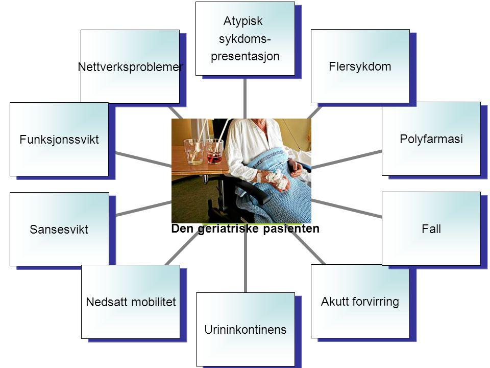 Den geriatriske pasienten Atypisk sykdoms- presentasjon FlersykdomPolyfarmasiFallAkutt forvirringUrininkontinensNedsatt mobilitetSansesviktFunksjonssviktNettverksproblemer