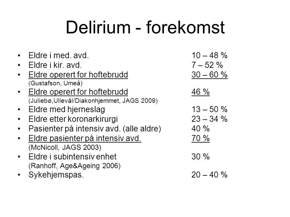 Delirium - forekomst Eldre i med.avd.10 – 48 % Eldre i kir.