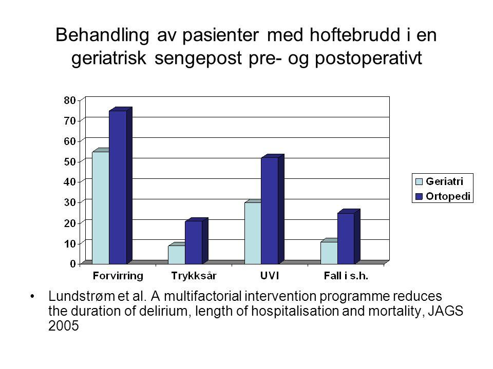 Behandling av pasienter med hoftebrudd i en geriatrisk sengepost pre- og postoperativt Lundstrøm et al.