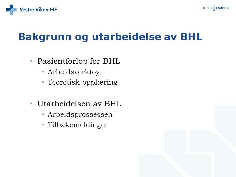 Bakgrunn og utarbeidelse av BHL Pasientforløp før BHL Arbeidsverktøy Teoretisk opplæring Utarbeidelsen av BHL Arbeidsprossessen Tilbakemeldinger