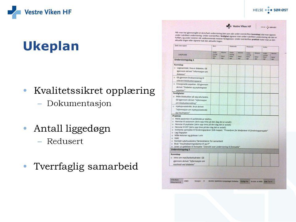 Ukeplan Kvalitetssikret opplæring –Dokumentasjon Antall liggedøgn –Redusert Tverrfaglig samarbeid