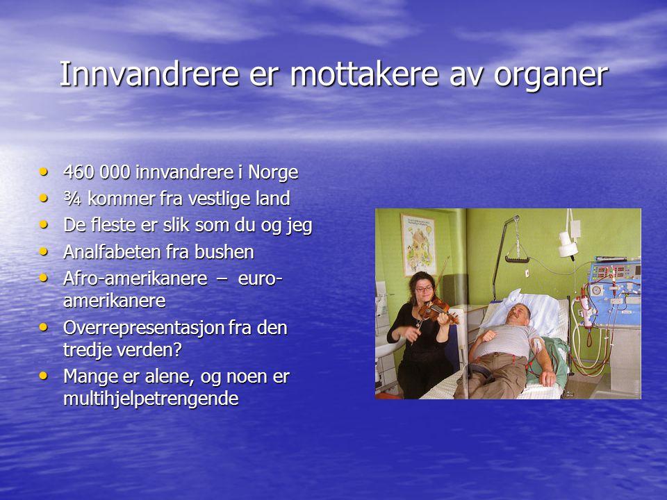 Innvandrere er mottakere av organer 460 000 innvandrere i Norge 460 000 innvandrere i Norge ¾ kommer fra vestlige land ¾ kommer fra vestlige land De f