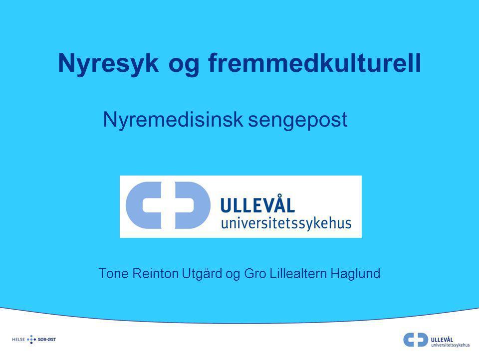 Nyresyk og fremmedkulturell Nyremedisinsk sengepost Tone Reinton Utgård og Gro Lillealtern Haglund