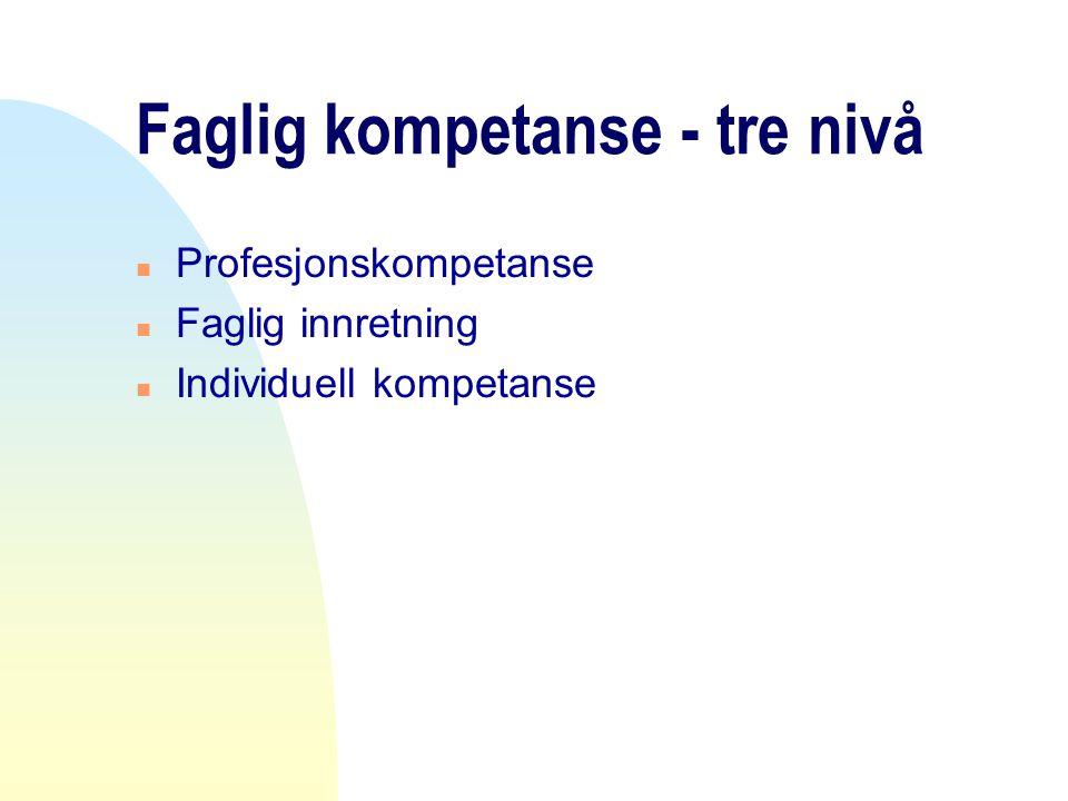 Faglig kompetanse - tre nivå n Profesjonskompetanse n Faglig innretning n Individuell kompetanse