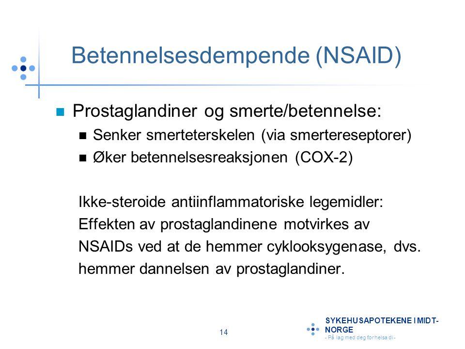 14 SYKEHUSAPOTEKENE I MIDT- NORGE - På lag med deg for helsa di - Betennelsesdempende (NSAID) Prostaglandiner og smerte/betennelse: Senker smertetersk