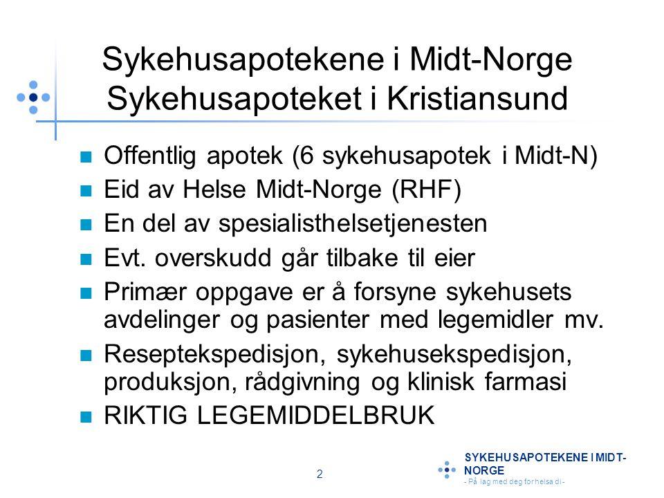 13 SYKEHUSAPOTEKENE I MIDT- NORGE - På lag med deg for helsa di - NSAIDS: Hemmer COX 1/COX 2 Stimulus Cyklooksygenase (COX 1 COX 2) NSAID