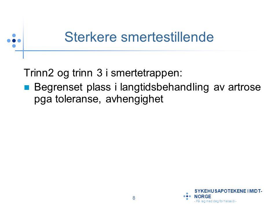 9 SYKEHUSAPOTEKENE I MIDT- NORGE - På lag med deg for helsa di - Legemidler mv ved artrose Rene smertestillende (f eks.