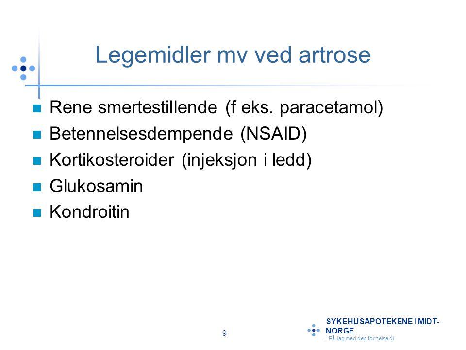 9 SYKEHUSAPOTEKENE I MIDT- NORGE - På lag med deg for helsa di - Legemidler mv ved artrose Rene smertestillende (f eks. paracetamol) Betennelsesdempen