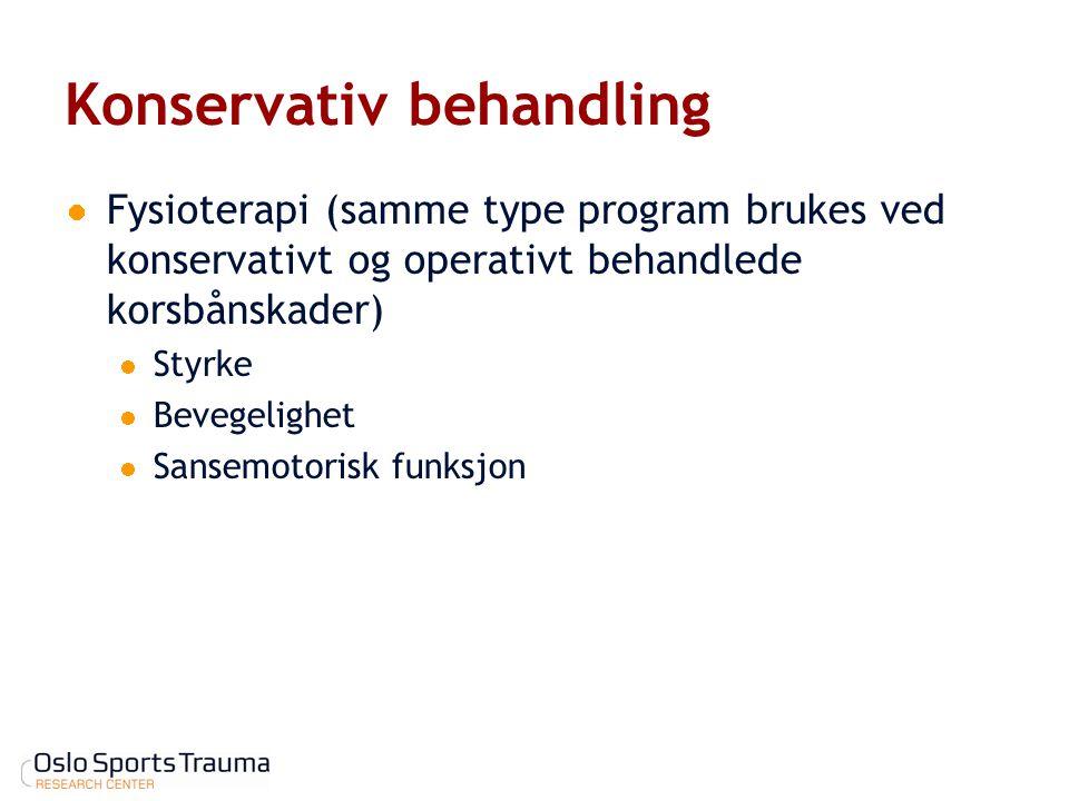 Konservativ behandling Fysioterapi (samme type program brukes ved konservativt og operativt behandlede korsbånskader) Styrke Bevegelighet Sansemotoris
