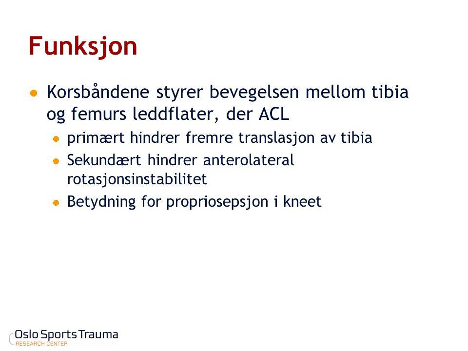 Funksjon Korsbåndene styrer bevegelsen mellom tibia og femurs leddflater, der ACL primært hindrer fremre translasjon av tibia Sekundært hindrer antero