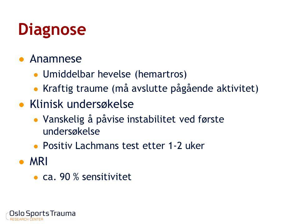 Diagnose Anamnese Umiddelbar hevelse (hemartros) Kraftig traume (må avslutte pågående aktivitet) Klinisk undersøkelse Vanskelig å påvise instabilitet