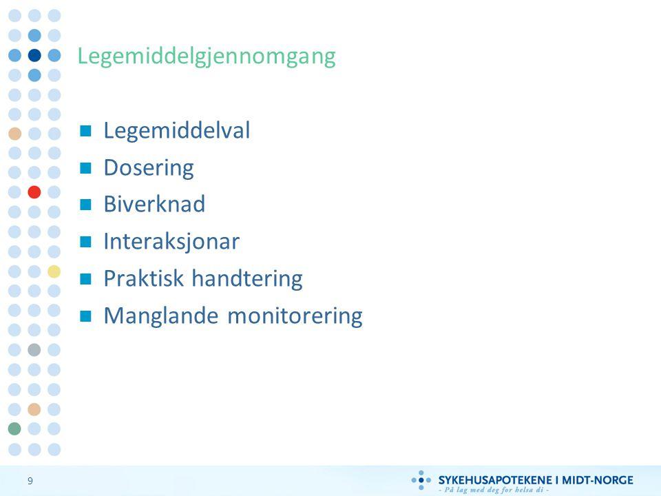 9 Legemiddelgjennomgang Legemiddelval Dosering Biverknad Interaksjonar Praktisk handtering Manglande monitorering