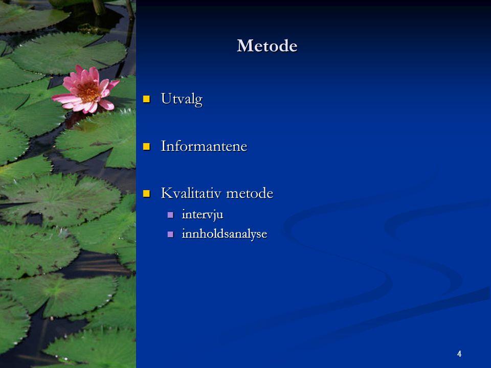 Metode Metode Utvalg Utvalg Informantene Informantene Kvalitativ metode Kvalitativ metode intervju intervju innholdsanalyse innholdsanalyse 4