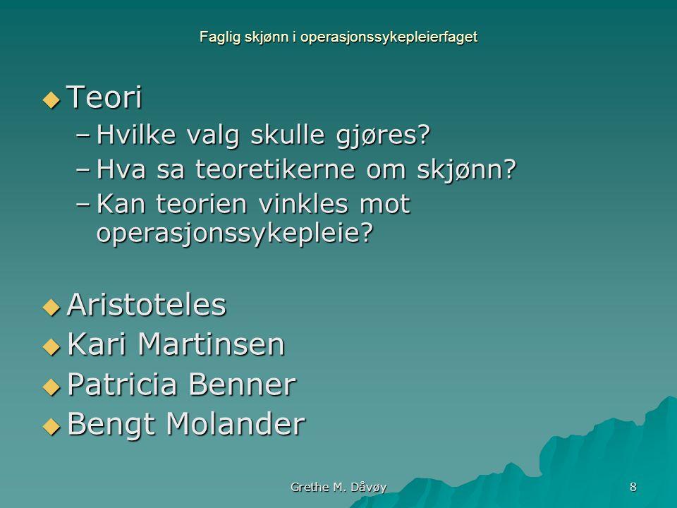 Grethe M. Dåvøy 8 Faglig skjønn i operasjonssykepleierfaget  Teori –Hvilke valg skulle gjøres? –Hva sa teoretikerne om skjønn? –Kan teorien vinkles m