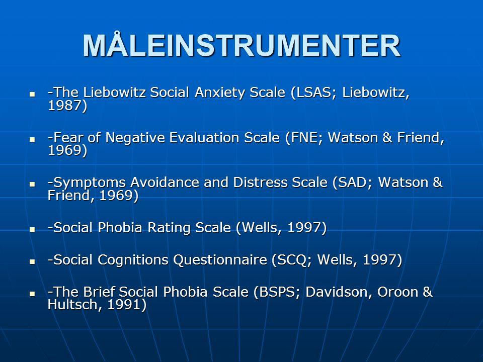 MÅLEINSTRUMENTER -The Liebowitz Social Anxiety Scale (LSAS; Liebowitz, 1987) -The Liebowitz Social Anxiety Scale (LSAS; Liebowitz, 1987) -Fear of Nega