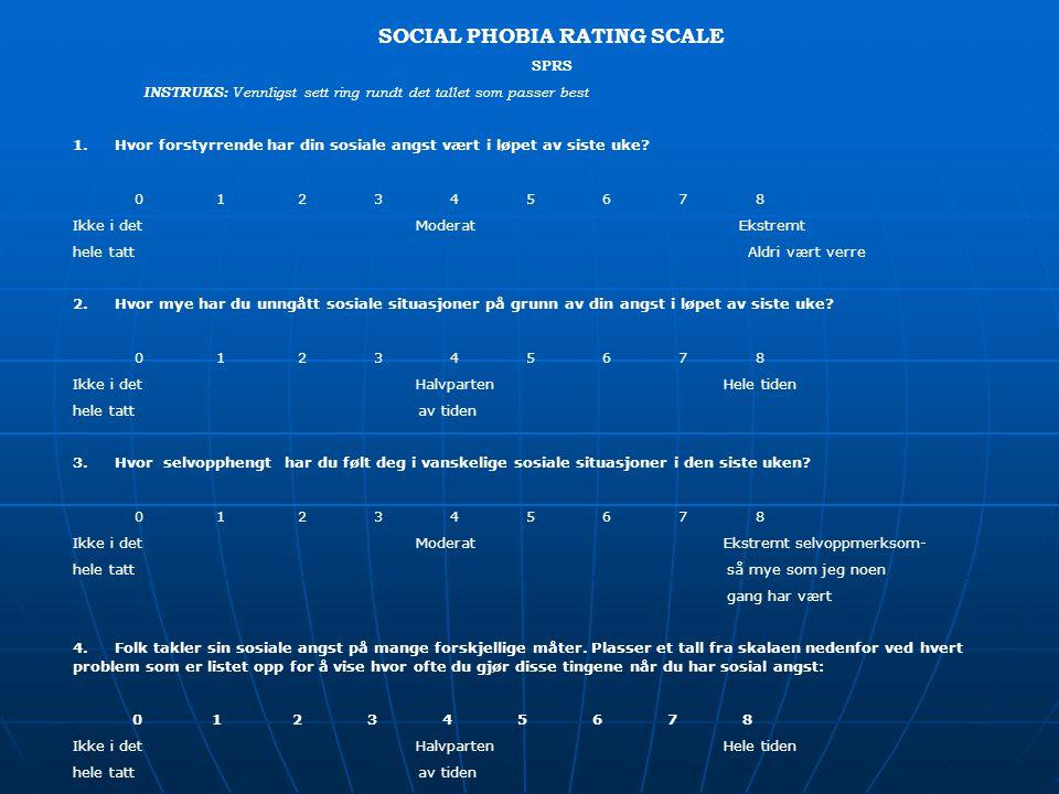 SOCIAL PHOBIA RATING SCALE SPRS INSTRUKS: Vennligst sett ring rundt det tallet som passer best 1. Hvor forstyrrende har din sosiale angst vært i løpet