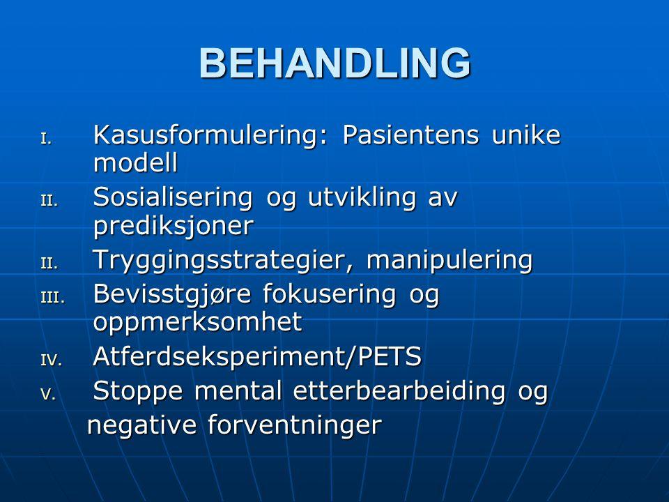 BEHANDLING I. Kasusformulering: Pasientens unike modell II. Sosialisering og utvikling av prediksjoner II. Tryggingsstrategier, manipulering III. Bevi