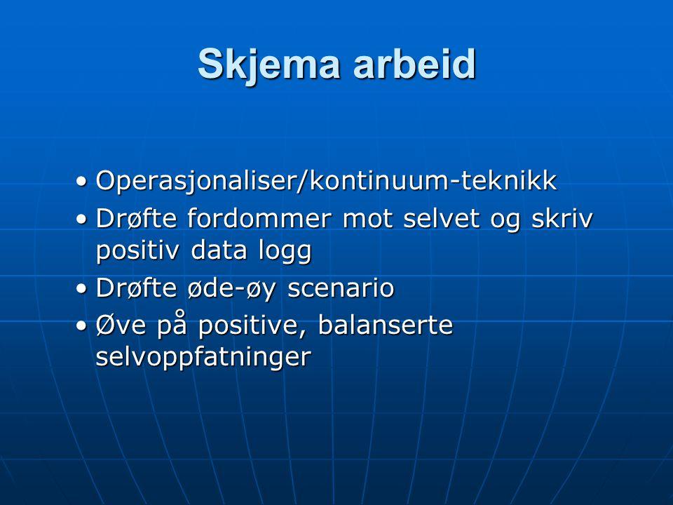 Skjema arbeid Operasjonaliser/kontinuum-teknikkOperasjonaliser/kontinuum-teknikk Drøfte fordommer mot selvet og skriv positiv data loggDrøfte fordomme