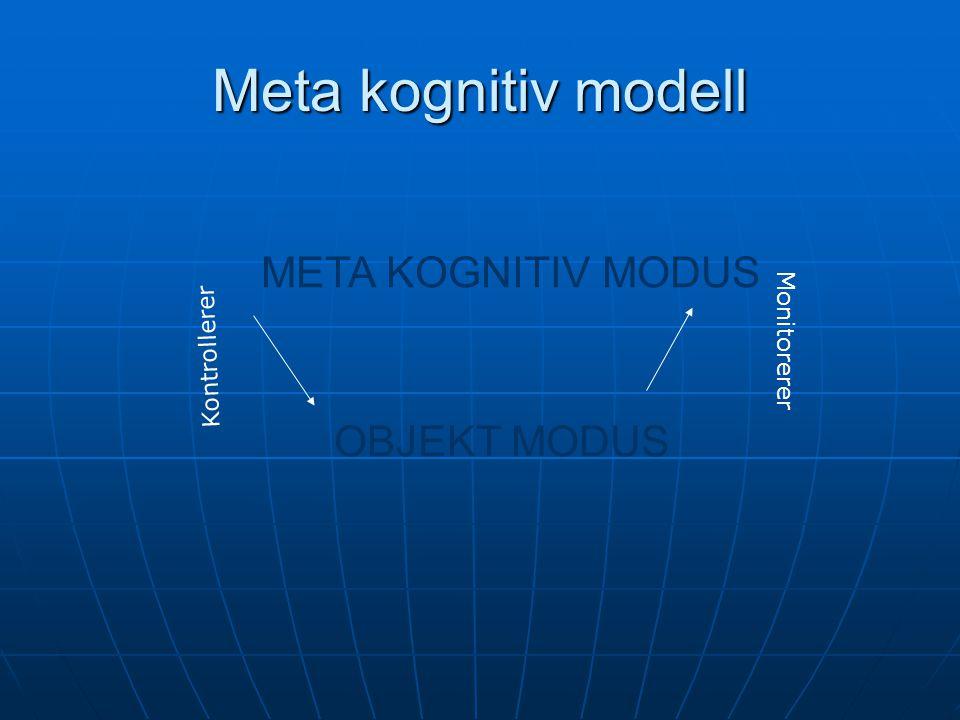 Meta kognitiv modell META KOGNITIV MODUS OBJEKT MODUS Kontrollerer Monitorerer