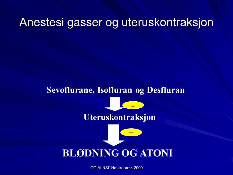 GG ALNSF Høstkonress 2009 Anestesi gasser og uteruskontraksjon - + Sevoflurane, Isofluran og Desfluran Uteruskontraksjon BLØDNING OG ATONI