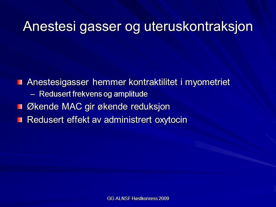 GG ALNSF Høstkonress 2009 Anestesi gasser og uteruskontraksjon Anestesigasser hemmer kontraktilitet i myometriet –Redusert frekvens og amplitude Økend