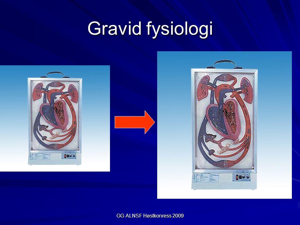 GG ALNSF Høstkonress 2009 Remifentanil ved sectio Ønsker: –Unngå stress/BT- stigning hos mor knyttet til intubasjon/kirurgi –Unngå påvirkning av den nyfødte Ulike strategier; –Vente med remifentanil til barnet er forløst –Bolus 1  g/kg (lavere BT-stigning ved intubasjon sammenliknet med saltvannsinjeksjon) –Kontinuerlig infusjon 0, 1  g/kg/min (doser på 0,2 kg/min ga behov for assistert ventilasjon/naloxon hos 50% av de nyfødte) Remifentanil brukt under fødsel, bolus 0,2  g/kg (ex: 80 kg gis det 16  g) gir ikke redusert økt behov for neonatal resc.