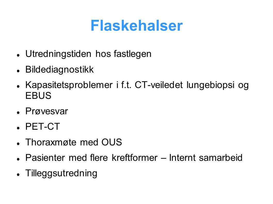 Flaskehalser Utredningstiden hos fastlegen Bildediagnostikk Kapasitetsproblemer i f.t. CT-veiledet lungebiopsi og EBUS Prøvesvar PET-CT Thoraxmøte med