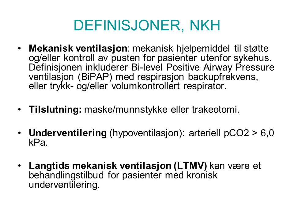 DEFINISJONER, NKH Mekanisk ventilasjon: mekanisk hjelpemiddel til støtte og/eller kontroll av pusten for pasienter utenfor sykehus. Definisjonen inklu