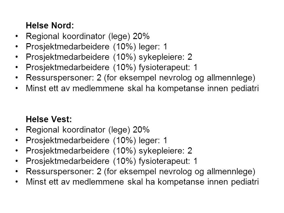 Helse Nord: Regional koordinator (lege) 20% Prosjektmedarbeidere (10%) leger: 1 Prosjektmedarbeidere (10%) sykepleiere: 2 Prosjektmedarbeidere (10%) f