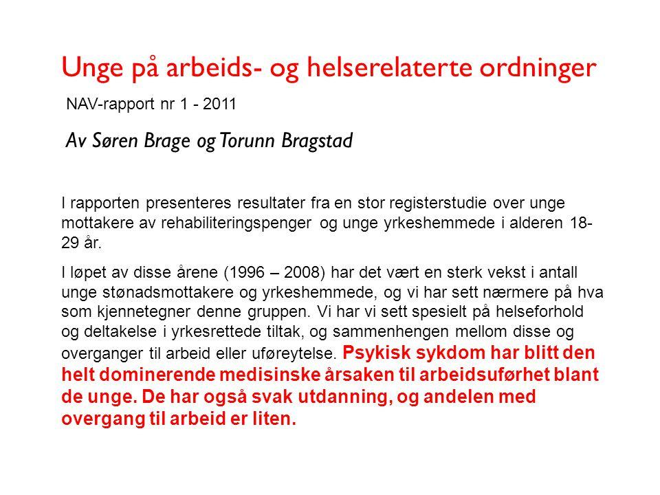 Unge på arbeids- og helserelaterte ordninger NAV-rapport nr 1 - 2011 Av Søren Brage og Torunn Bragstad I rapporten presenteres resultater fra en stor
