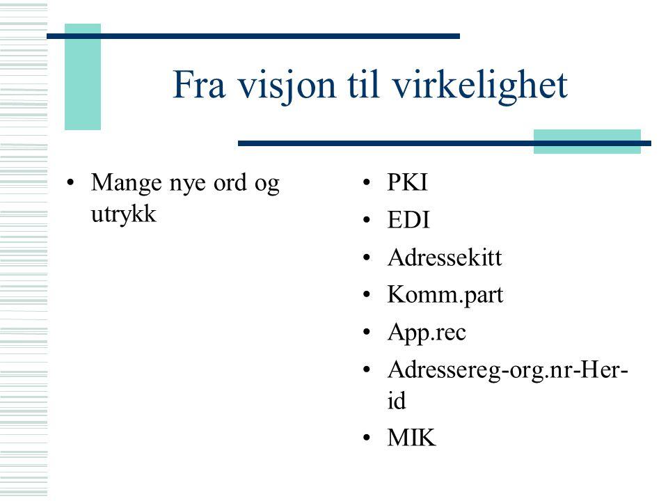 Fra visjon til virkelighet Mange nye ord og utrykk PKI EDI Adressekitt Komm.part App.rec Adressereg-org.nr-Her- id MIK