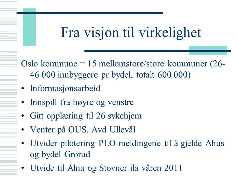 Fra visjon til virkelighet Oslo kommune = 15 mellomstore/store kommuner (26- 46 000 innbyggere pr bydel, totalt 600 000) Informasjonsarbeid Innspill f