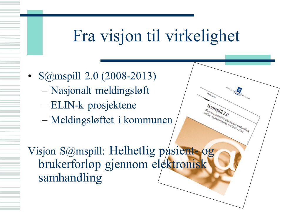 Fra visjon til virkelighet S@mspill 2.0 (2008-2013) –Nasjonalt meldingsløft –ELIN-k prosjektene –Meldingsløftet i kommunen Visjon S@mspill: Helhetlig